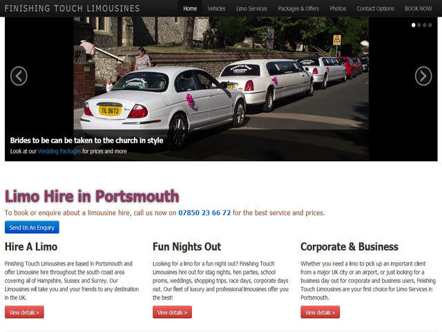 Limo Hire Homepage Example