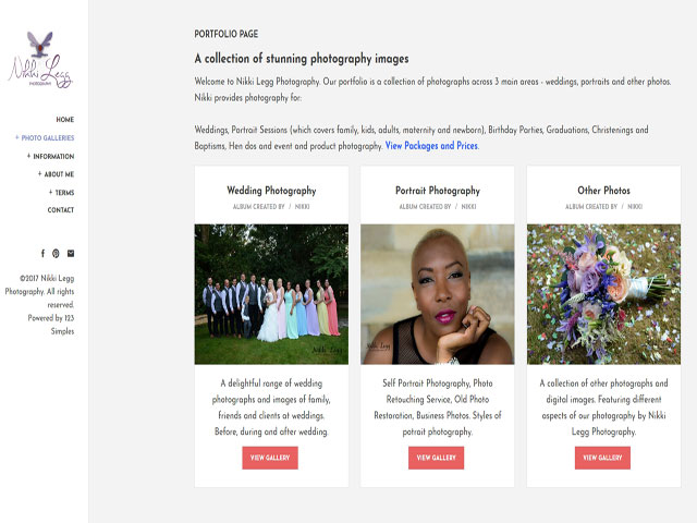 Wedding Photography Homepage Example