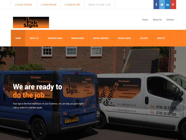 Sign Writing Company Homepage Example